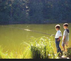 Enfants pêchant dans les Vosges, camping Au clos de la Chaume